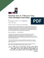 Khutbah Jumad 5 bencana yang akan menimpa umat islam.docx