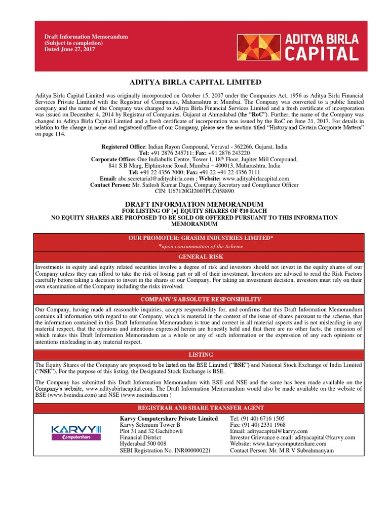 Aditya Birla Capital Information Memorandum Post Spinoff Interest Interest Rates