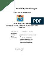 Monografia Informar Sobre La Atencion de Paciente Con Cancer - Tecno - Octubre 2017