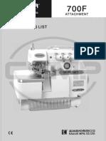 Partslist Siruba 700F_ATTACHMENT