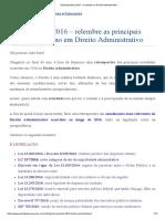 Restrospectiva 2016 - Novidades No Direito Administrativo