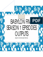 Babylon Fiive Season 1 Episodes in Two Formats - Draft handout
