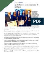 28-10-17 Recibe Gobierno de Sonora premio nacional de innovación tecnológica. - Canal Sonora