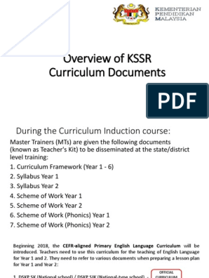 Overview of KSSR Curriculum Documents pptx | Phonics