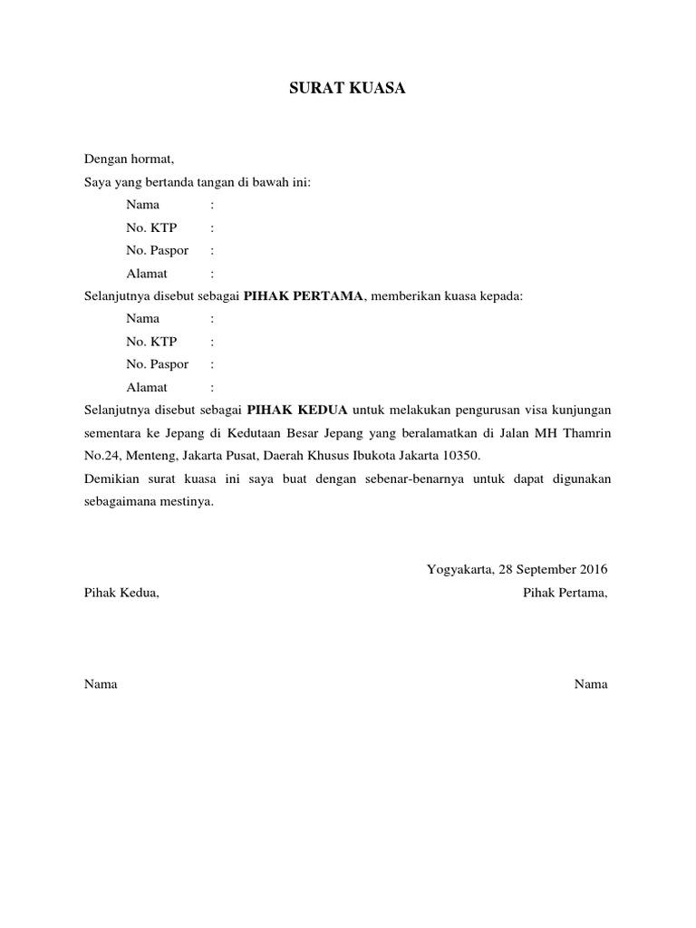 Surat Kuasa Visa