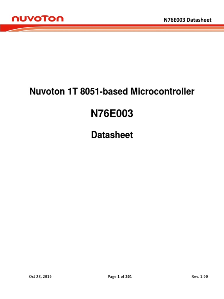 DS_N76E003_EN_Rev1 00 | Microcontroller | Flash Memory
