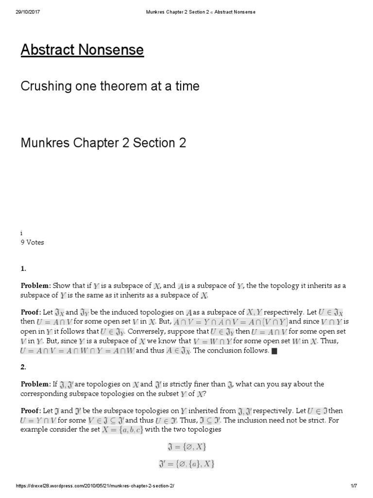 Munkres Chapter 2 Section 2 « Abstract Nonsense   Convex Set