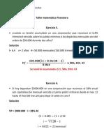 Taller Matemática Financiera