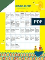 Calendario de Actividades Para Trabajar La Lectura de 0 a 5 Años Mes de OCTUBRE