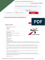 Des Mousquetaires - Technicien Methodes Maintenance H_f
