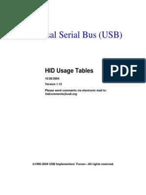USB HID Usage Table pdf | Usb | Input/Output