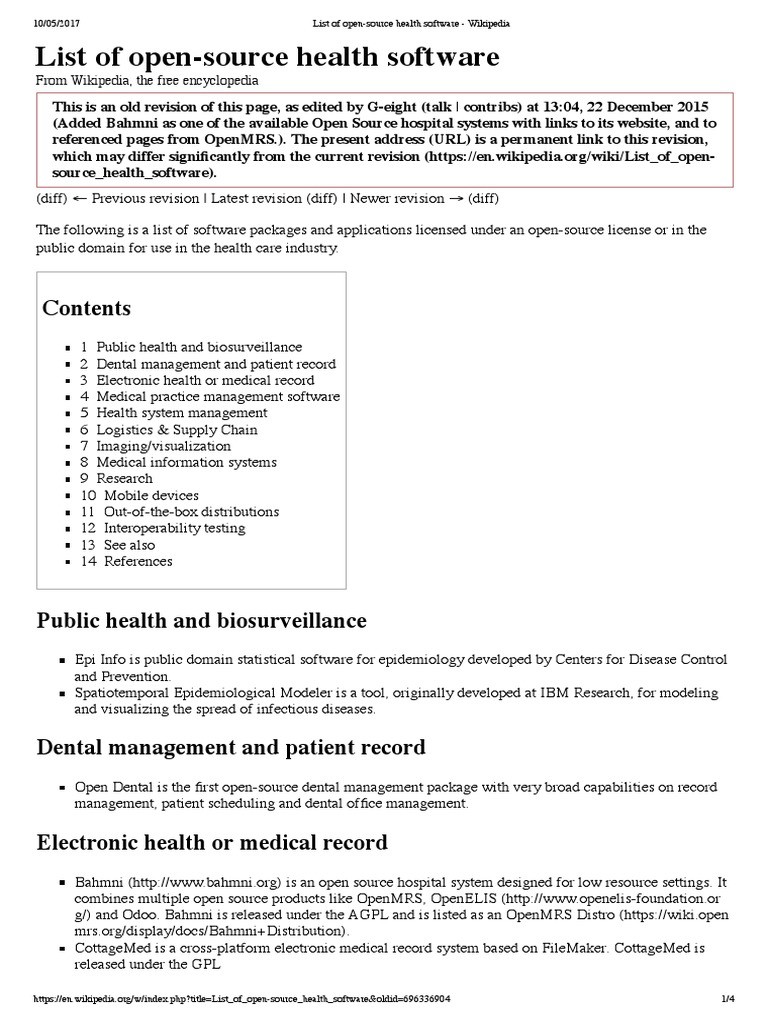 List of open-source health software | Electronic Health Record