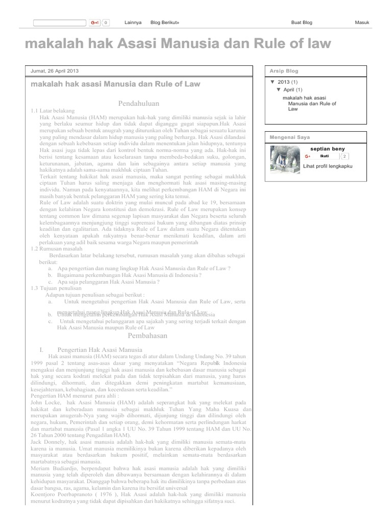 123slide Org Makalah Hak Asasi Manusia Dan Rule Of Law Pdf