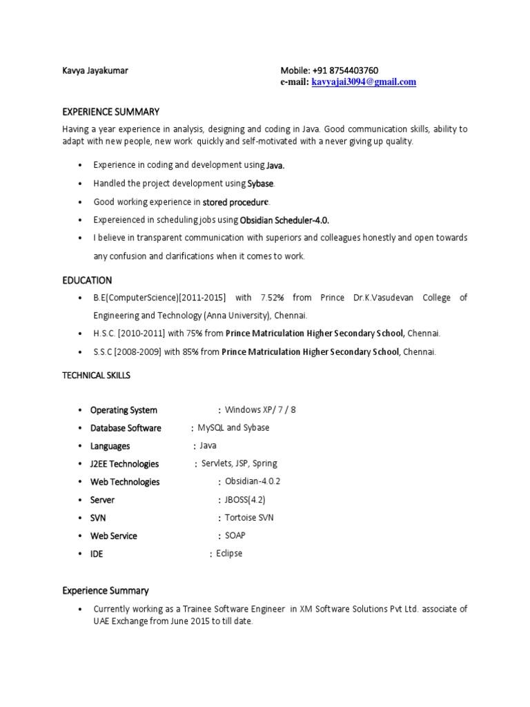 Kavya Resume | Eclipse (Software) | Java (Programming Language)