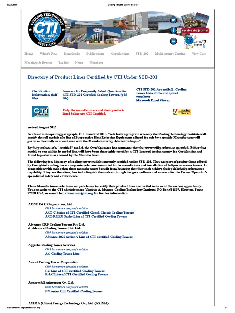 Cooling towers certified by cti air conditioning certification 1betcityfo Gallery