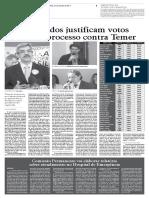 Denúnica contra Temer votos dos Deputados da Região