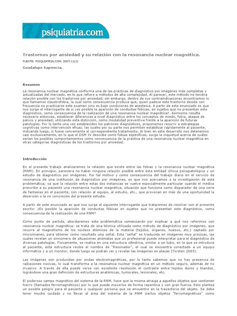 Trastornos Por Ansiedad y Su Relación Con La Resonancia Nuclear ...