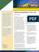 "Ukraine's Post-Election ""To-Do"" List"