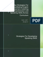 Use Strategies For Facilitating English Language Learners Listening Comprehension and Speaking Skills Across Curriculum