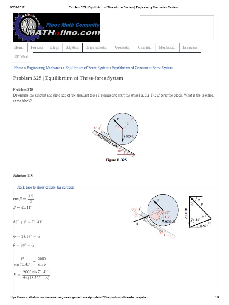 Problem 325 _ Equilibrium of Three-Force System