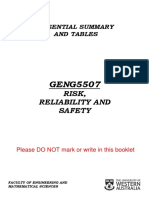 Risk Reliability Summary and Tables
