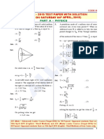 Jee Main 2015 Paper With Solutions Physics Allen