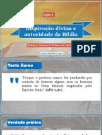 Lição 1 - Inspiração Divina e Autoridade Da Bíblia