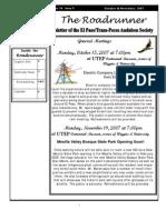 Oct-Nov 2007 Roadrunner Newsletter El Paso Trans Pecos Audubon Society
