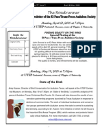 Apr-May 2008 Roadrunner Newsletter El Paso Trans Pecos Audubon Society