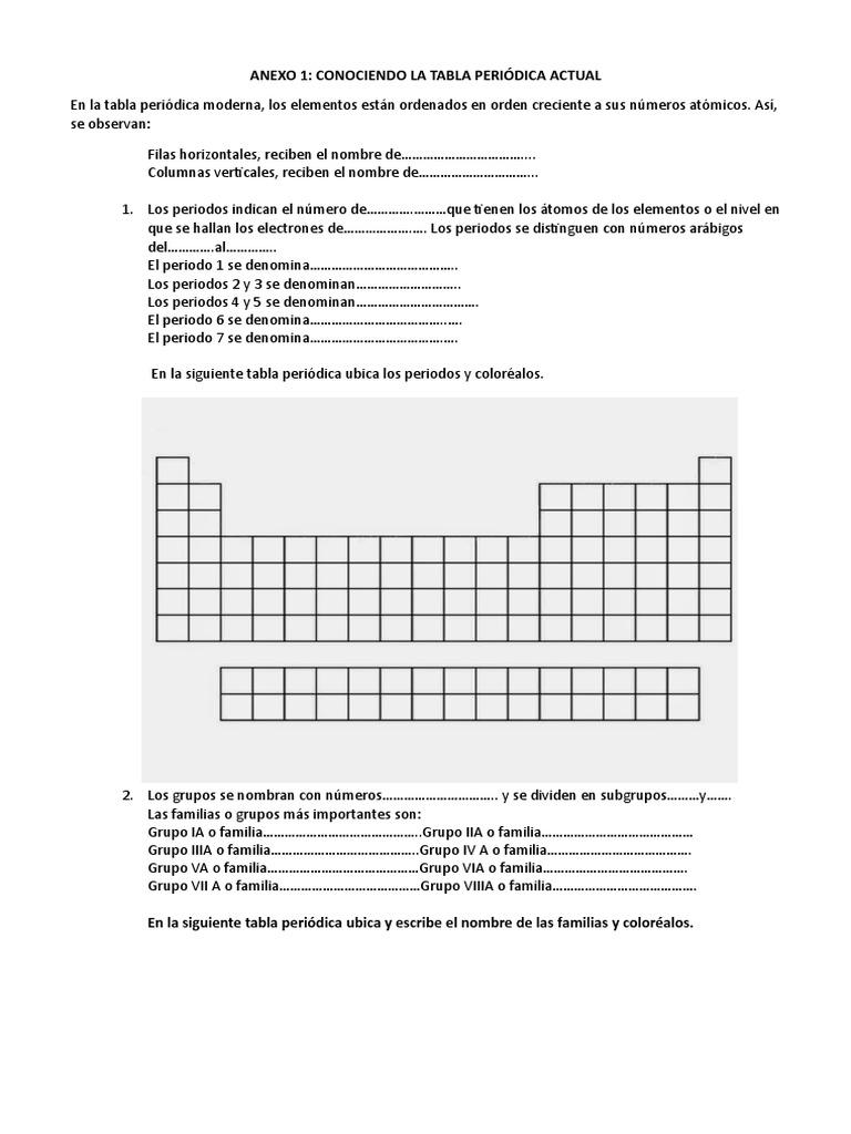 Ficha de trabajo de tabla peridica urtaz Image collections