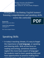 Strategies for facilitating English learners' listening comprehension and speaking skills across the curriculum