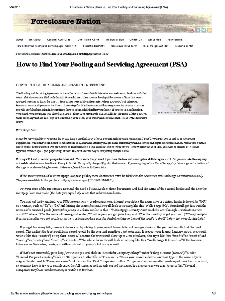 Foreclosure nation how to find your pooling and servicing foreclosure nation how to find your pooling and servicing agreement psa foreclosure securitization platinumwayz