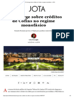 STJ Diverge Sobre Créditos de Cofins No Regime Monofásico – JOTA