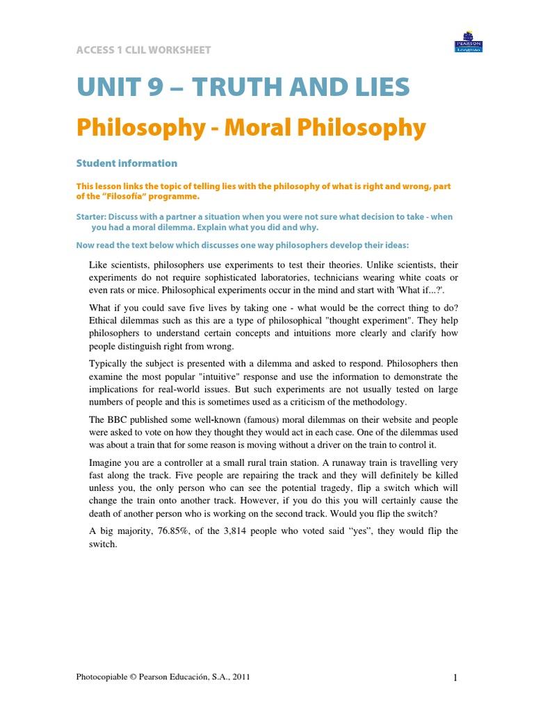 Access 1 Unit 9 Philosophy Experiment Intuition