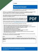 Entry Form - Alan Jenkins Memorial Award 2017