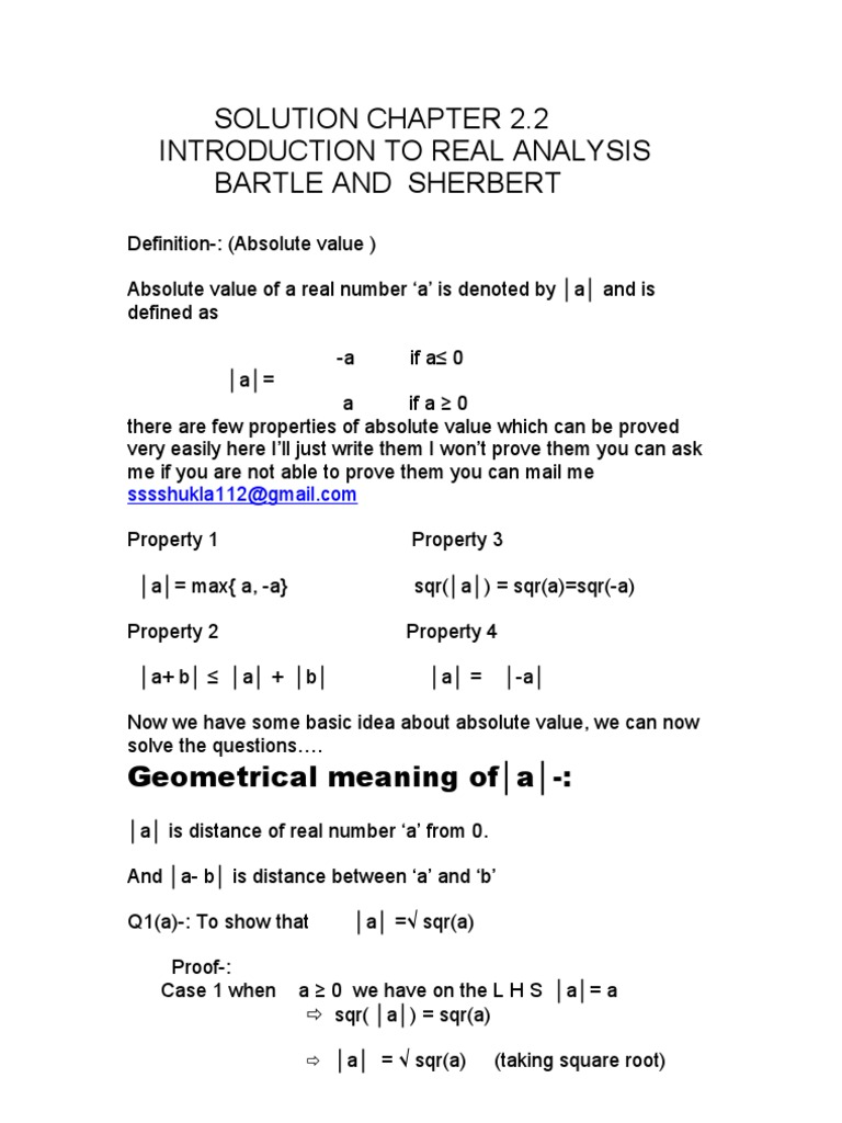 solution manuals introduction to real analysis( Bartle and Sherbert) | Real  Analysis | Numbers