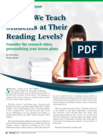 Shanahan - Should We Teach at Reading Level
