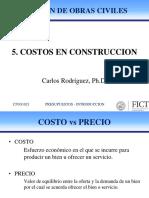 5. Costos en Construcción
