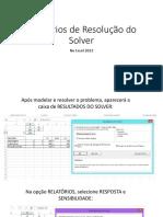 Relatórios de Resolução Do Solver