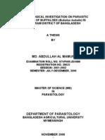 Epidemiological Investigation on Parasitic Diseases of Buffaloes (Bubalus Bubalis) in Kurigram District of Bangladesh