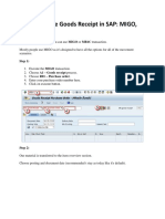 How to Create Goods Receipt in SAP