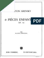 Anton ARENSKY - 6 Pièces Enfantines - Op34 - 4 Mains