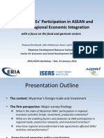 Myanmar SMEs' Participation in ASEAN and East Asia Regional Economic Integration with a focus on the food and garment sectors. Jan 2016