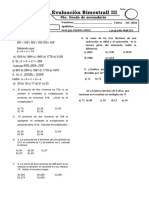 Examen Bimestral Aritmetica 3 Bimestre 4 Sec