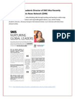 Lakshmi Reddy, Academic Director of SNIS Was Recently Interviewed by Elets News Network (ENN)