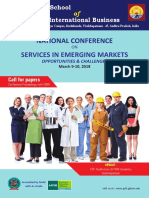 Two Day National Conference on Services in Emerging Markets- Opportunities and Challenges on 9-10 March, 2018 at GITAM School of International Business, GITAM University, Visakhapatnam, Andhra Pradesh, INDIA