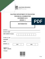 Grade 6 Mathematics Exam - November 2016