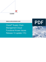 Oracle Supply Chain Management Cloud Functional Known Issues - Release 13 Update 17C