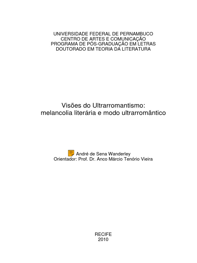 Visões Do Ultrarromantismo   Melancolia Literária e Modo ...