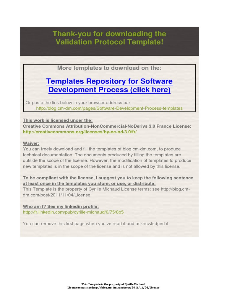 Validation protocol template verification and validation validation protocol template verification and validation software testing pronofoot35fo Choice Image